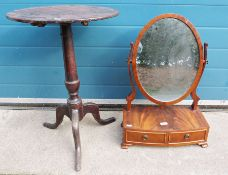 20th century mahogany dressing table mirroron box base with two drawers, ogee bracket feet and a