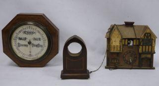 Mahogany-cased barometerby Short & Mason, London, a cuckoo-type clockand one further clock body(