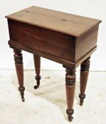 19th century mahogany box with lift top, on four turned supports, 63cm x 80cm