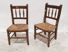 Pair of early 20th century child's rush seated chairson turned front legs and stretchers (2)