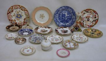 Assorted 18th/19th century porcelain including Crown Derby, blue and white, stone china, Dresden,