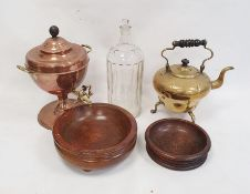 Large glass poison canisterwith stopper, a brass kettle, small copper samovarand two treen items
