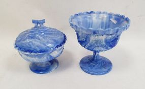 Victorian blue slag glass pedestal bowlby Henry Greener, the circular body decorated with union