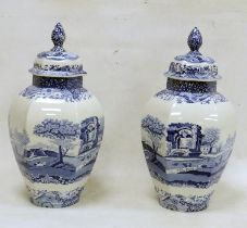 Pair of Spode blue and white lidded vases'Italian' pattern, hexagonal shaped, 40cm high approx. (2)