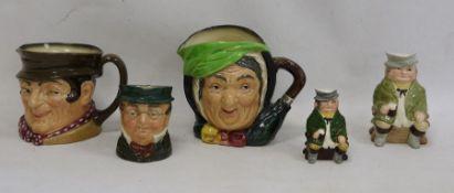 Three Royal Doulton character jugs, a'Helsboro Ware' character jugand another(5)