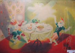 "James Fitton (1899-1982) Lithograph ""Pantomime"", labelled to frame, 59.5cm x 87cm Colour print"