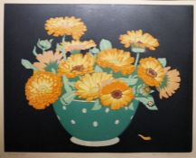 """John Hall Thorpe (1874-1947) Woodblock print """"Marigolds"""", signed in pencil to the margin, 24cm x"""