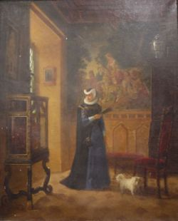 Attributed to Ernst Josefson (Swedish, 1851-1906) Oil on canvas Interior scene with tapestry and