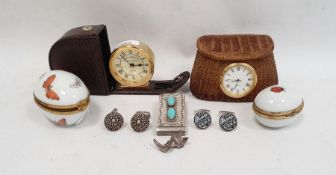 Silver money clipset with pair of turquoise oval-coloured stones, silver cufflinks, Dubarry