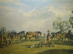 """After Alfred Munnings Colour print """"A Summer Evening, Cliveden"""""""