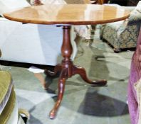 19th century mahogany circular snap-top tripod occasional table on baluster turned support to ogee