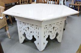 ********* WITHDRAWN ************ 20th century cream painted coffee tablewith hexagonal top,