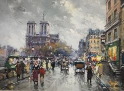 Antoine Blanchard (1910-1988) Oil on canvas Paris street scene with Notre Dame in stormy weather,