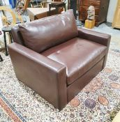 Modern brown leather wide chair bed