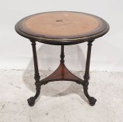 19th century continental ebonised centre table, the circular top with bird's eye maple veneer and