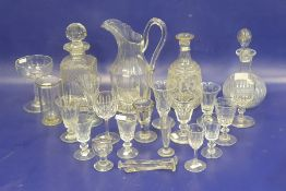 Antique cut glass water jug, panelled (with staple repair), an assortment of 19th century cut