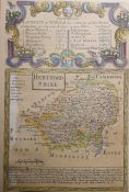 Two maps of Herefordshire, a strip map'The Road from London to Holyhead' and a mappublished 1799