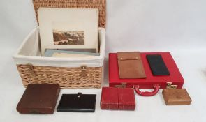 Wicker hamper, a red briefcase, quantity ephemerato include postcards and other items
