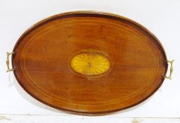 19th century mahogany and satinwood inlaid oval tea traywith two brass handles, 62cm wide