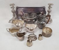 Assorted flatware, candlesticks, teapot, jugs, trays, etc,two cased canteens of flatwareand a