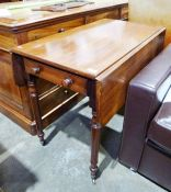 19th century mahogany pembroke tablewith single drawer, on turned supports