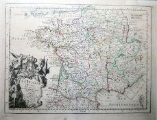 """La France Handcoloured map """"Divisee en Ses 37 Gouvernements Militaires a Paris"""", Sr Le Rouge,"""