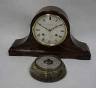 Comitti mahogany-cased Napoleon's hat-shaped mantel clockand a barometer (2)