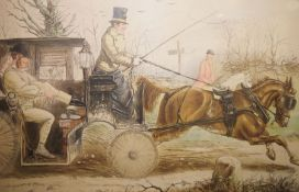 """John Leech Colour print """"Where There' a Will There's a Way"""", hunting scene, 64cm x 83cm"""
