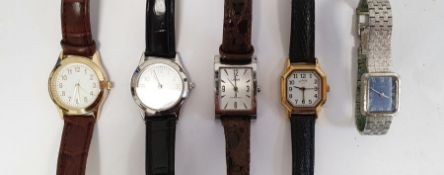 Six assorted lady's and gentleman's modern watches, a sewing machine pendant on chain, a butterfly