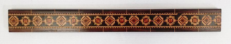 "19th century hardwood and Tunbridge ware inlaid ruler, 9"" long"