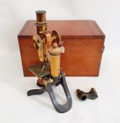 Henry Crouch, London, brass-finish and black metal monocular microscope, no.8938, in mahogany