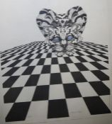 Katherine Rolfe (contemporary) Limited edition print Crouching ocelot, no.8/50, signed in pencil