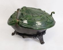 Cast iron and green enamel coal boxwith scallopshell moulded hinged lid, 48cm long