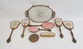 Papiermache glove box, floral decorated, a papiermache tray and similar items to include bookends