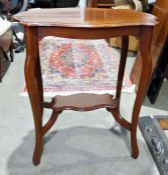 Early 20th century walnut lozenge-shaped top occasional tableon cabriole legs to shaped