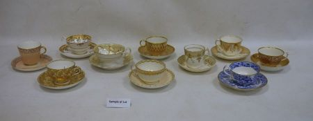 26 assorted 18th/19th century teacups and saucersto include Derby and Spode, all mainly in peach,