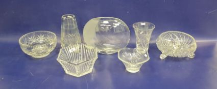 Two cut glass fruit bowls, two tall cut glass vases, a hexagonal heavy cut bowland a modern rounded