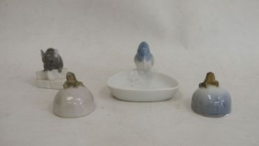 Royal Copenhagen mouse eating cheese, no.510, two Royal Copenhagen frogs, no.507 and similar