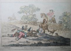 """James Gillray (1756-1815) after Brownlow North Set of four engravings """"Hounds Finding"""", """"Hounds"""