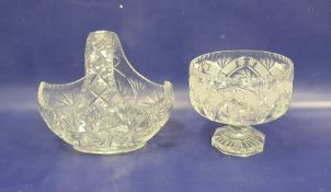 Heavy cut glass pedestal fruit bowl, circular and a heavy cut glass basketwith whorl decoration (2)