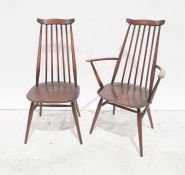 Set of five dark elm Ercol seated and beech framed stick-back chairs including two carvers (5)