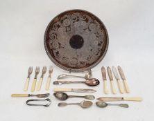 Circular trayand assorted flatware
