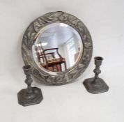 Arts & Crafts style hammered pewter framed mirrordecorated with convolvulus flowers and pair pewter