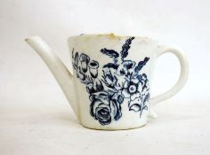 18th century Lowestoft porcelain feeding cupprinted in blue with floral sprays, butterfly and