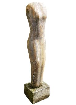 Attributed to Paul Vanstone (b.1967) variegated white polished stone sculpture of female torso,