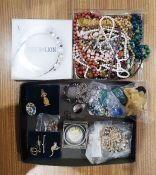 Quantity of costume jewelleryto include beaded necklaces, bracelets, Lindner coin boxes and