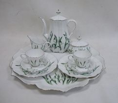 Herend cabaret set'Snowdrop' pattern to include tray with serpentine edge, coffee pot, cream jug,