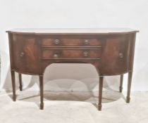 Reproduction Regency mahogany sideboard, the shaped top above two central doors flanked by two