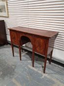 Georgian-style small mahogany sideboard, the rectangular top with broad crossbanded border and