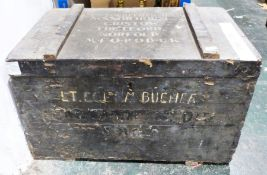 Painted box, written to top 'Lt Col F M Bucher D.S.O., Manor House, Cristow, Thetford, Norfold, N.